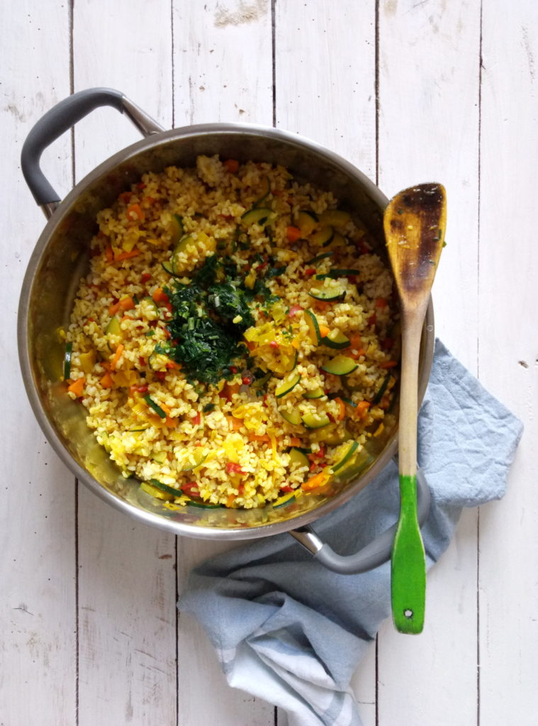 Fried Rice with Eggs and Turmeric