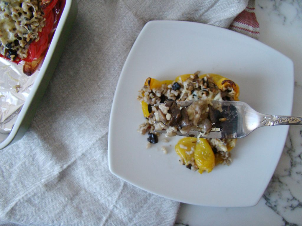 Stuffed Peppers with Brown Rice and Mushrooms (How to Save Money on Grocery Shopping)