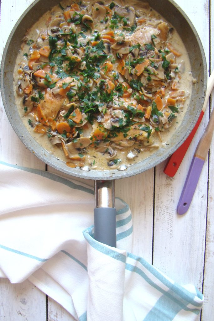 Chicken Thighs with Creamy Mushroom Thyme Sauce