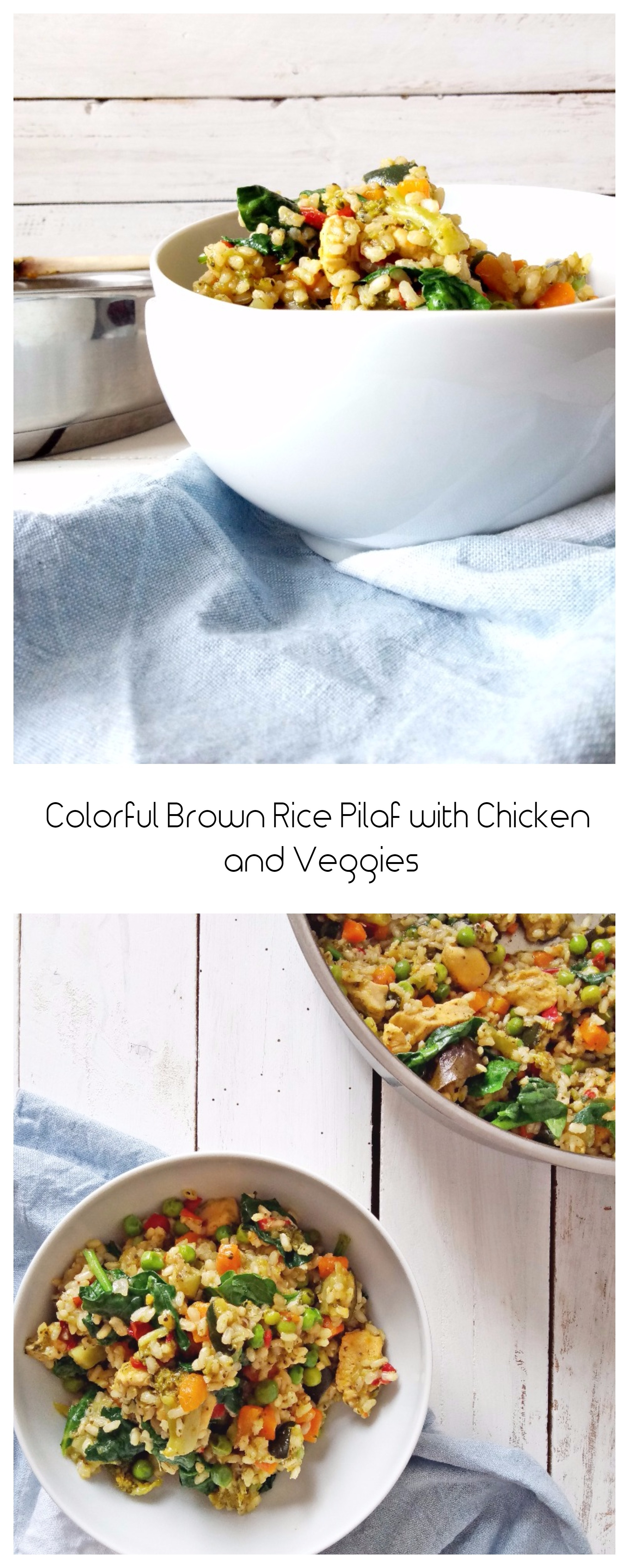 Colorful Brown Rice Pilaf with Chicken and Veggies