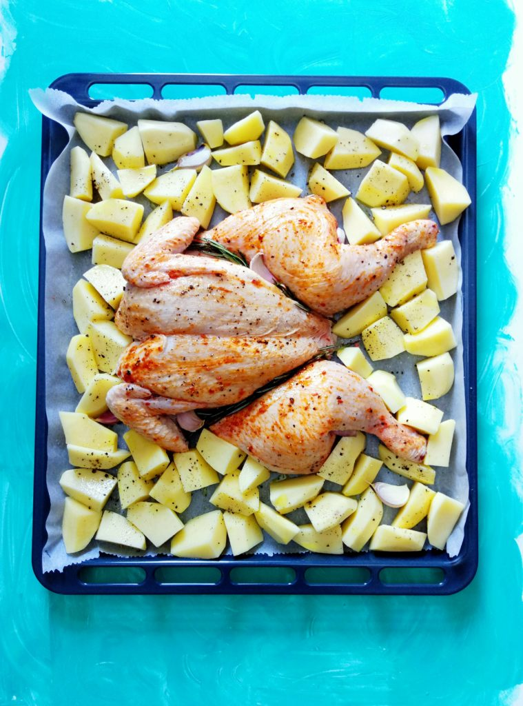 SHEET PAN DINNER - Butterflied Chicken with Potatoes (easy cleanup!)